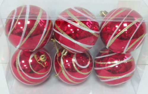 6 Bauble Swirl Red